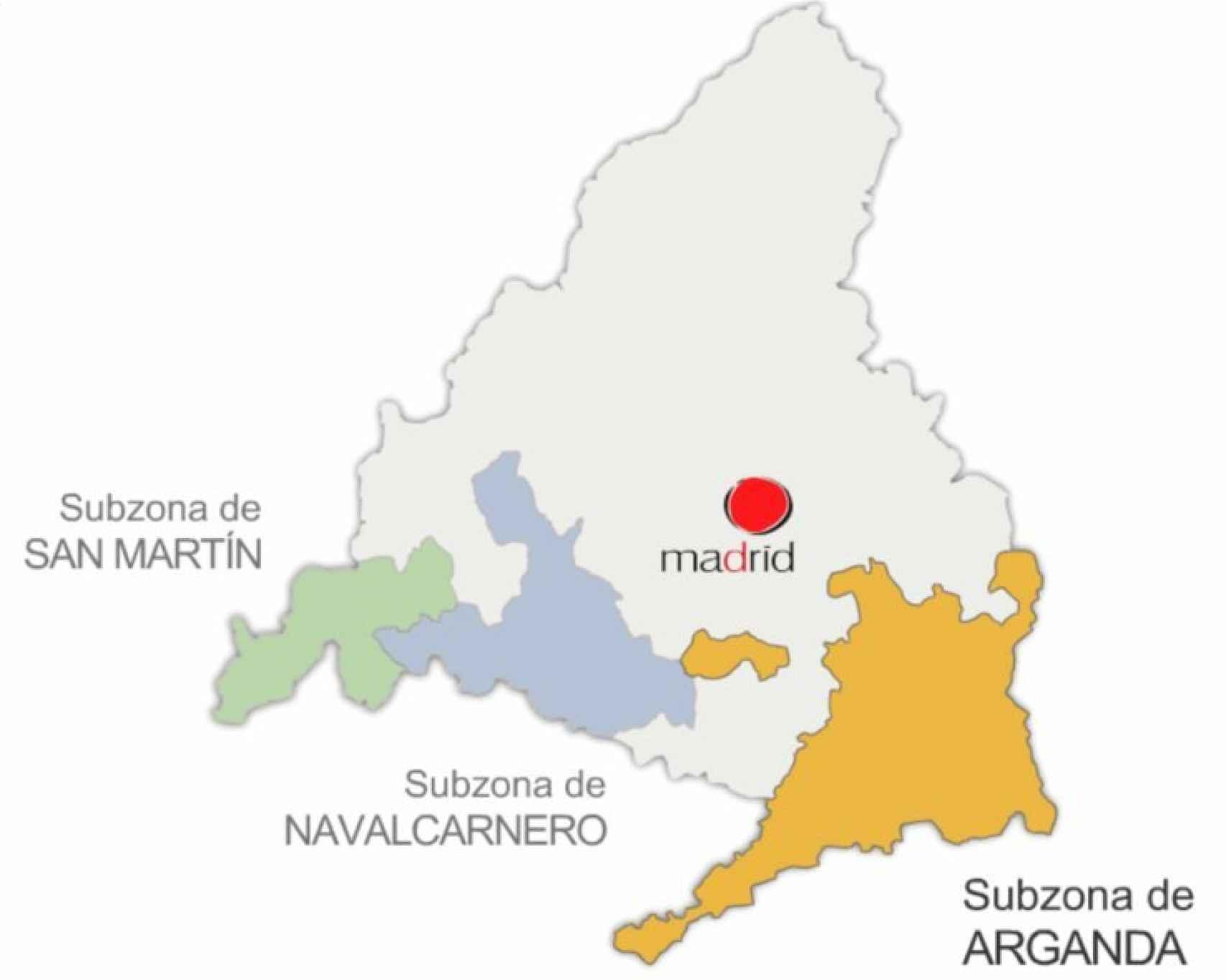Mapa enológico de la D.O. Vinos de Madrid.