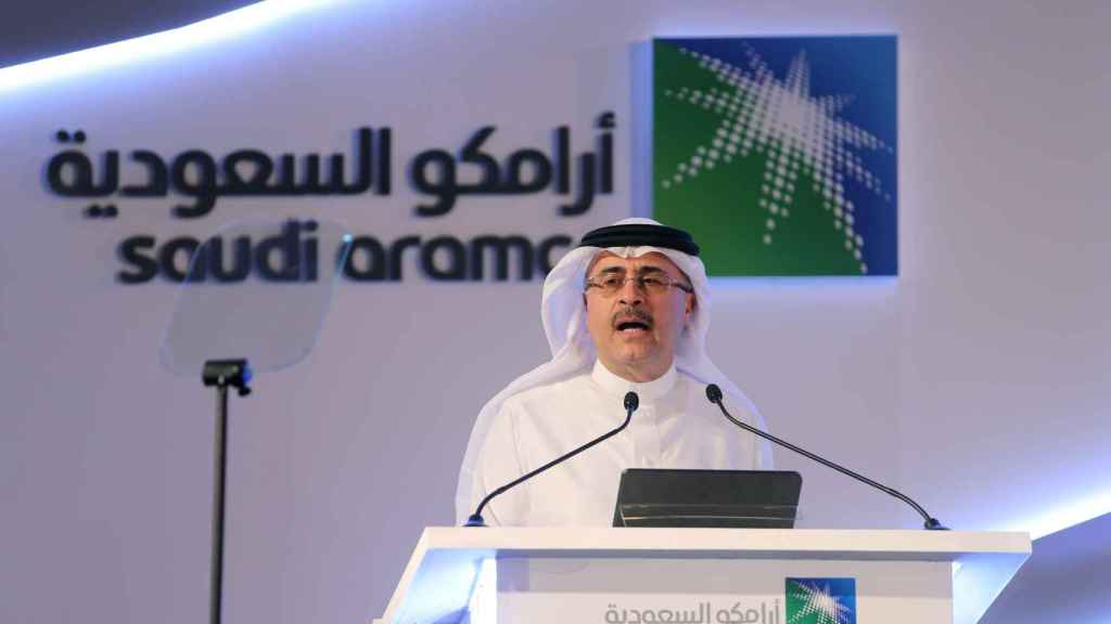 Amin H. Nasser, president and CEO of Saudi Aramco, speaks during a news conference in Dhahran