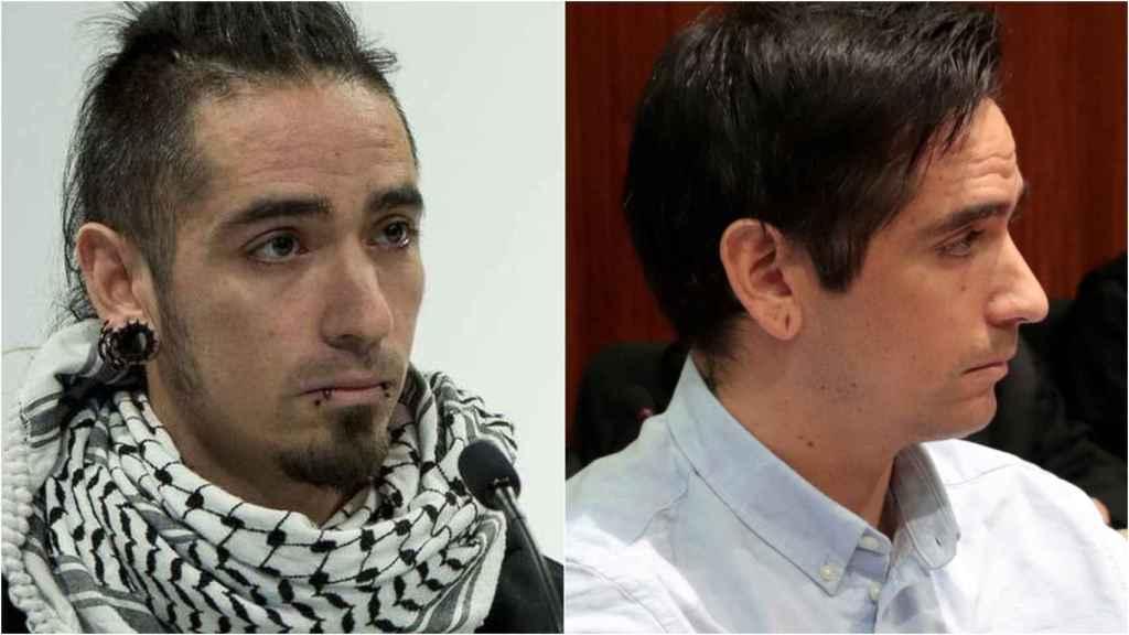Rodrigo Lanza, a la izquierda, con pinta de antisistema. A la derecha, muestra otra imagen en el juicio.