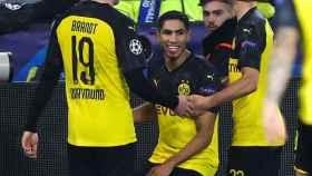 Achraf celebra uno de los goles del partido