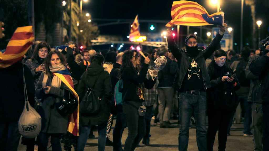 Concentración de los CDR contra la visita de la Casa Real a Barcelona.