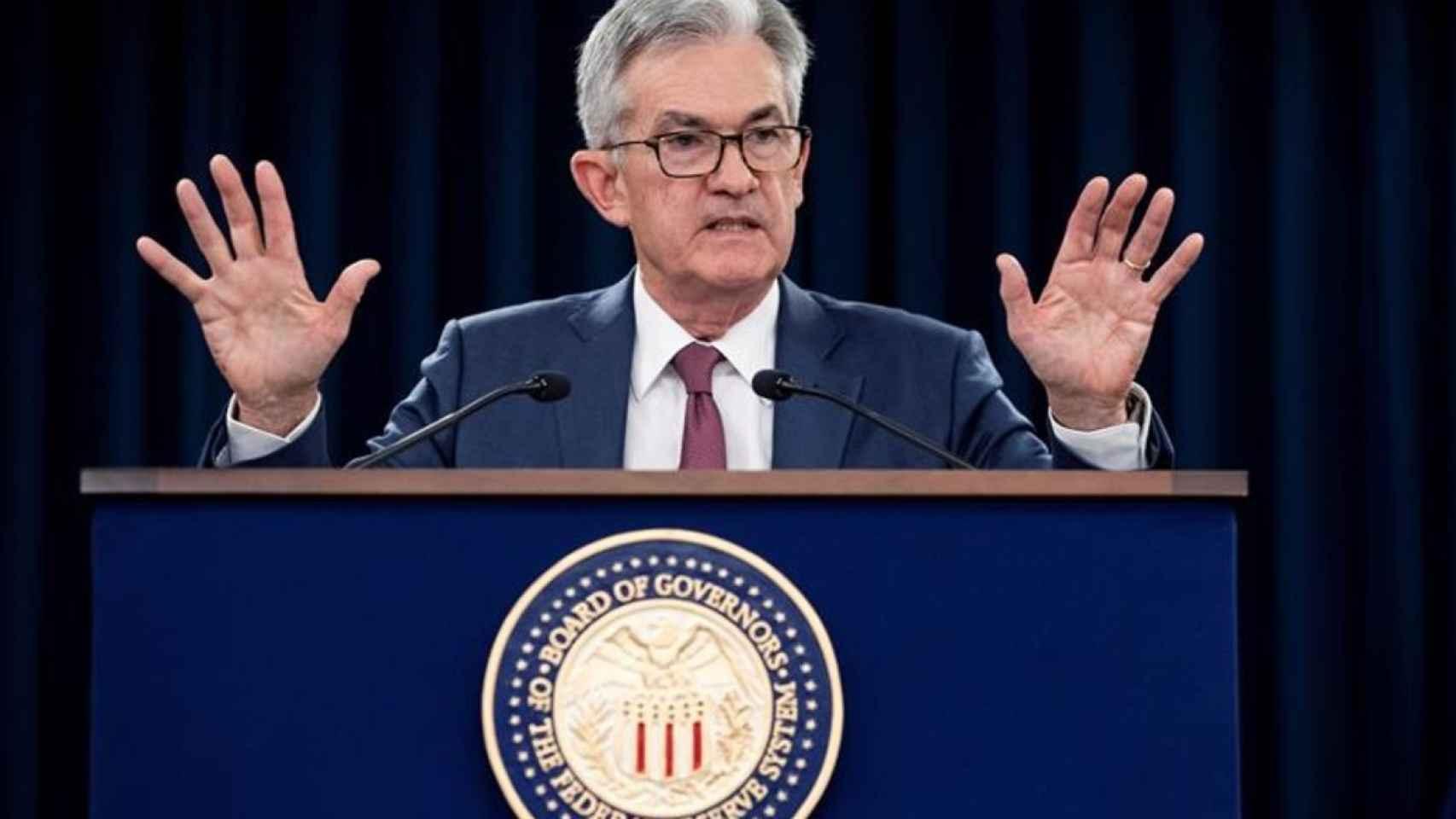 El presidente de la Reserva Federal, Jerome Powell, en una rueda de prensa.