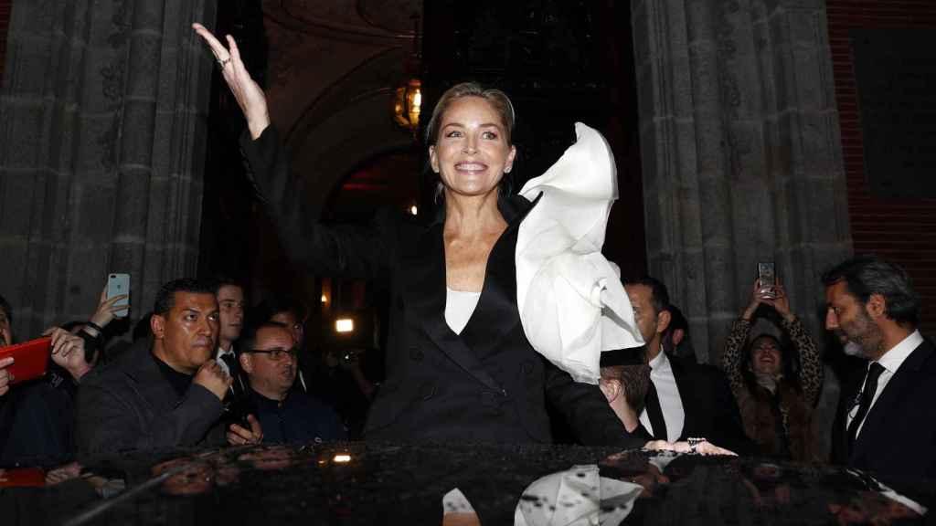 Sharon Stone en su visita a Madrid.