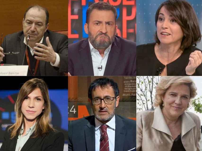 De izquierda a derecha y de arriba a abajo: Vicent Sanchis, Toni Soler, Lídia Heredia, Cristina Puig, Xavier Graset y Pilar Rahola.