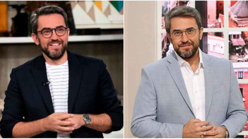 Máximo Huerta en dos programas diferentes con estilismos dispares y montura de gafas distintas.