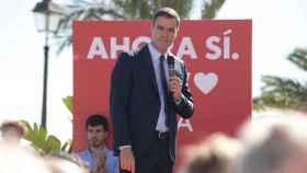 Pedro Sánchez, este jueves en un acto de campaña.