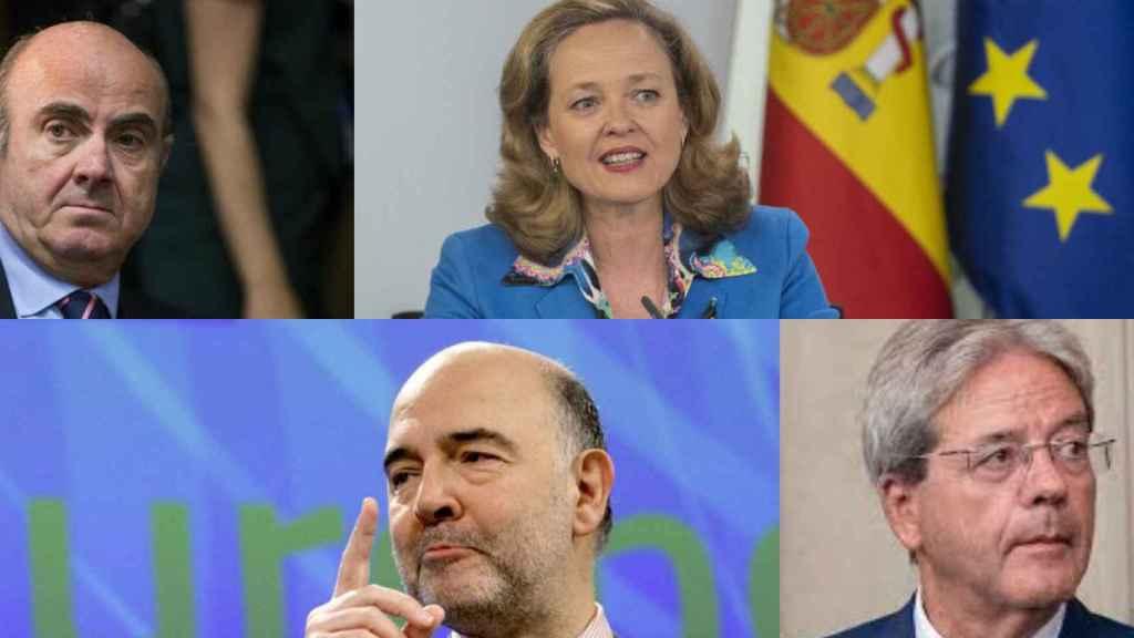 Luis de Guindos, Nadia Calviño, Pierre Moscovici y Paolo Gentiloni.