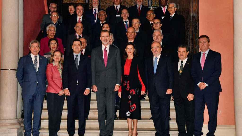 Detalle de los tacones de salón de Magrit que ha vestido Letizia en su visita a Sevilla.