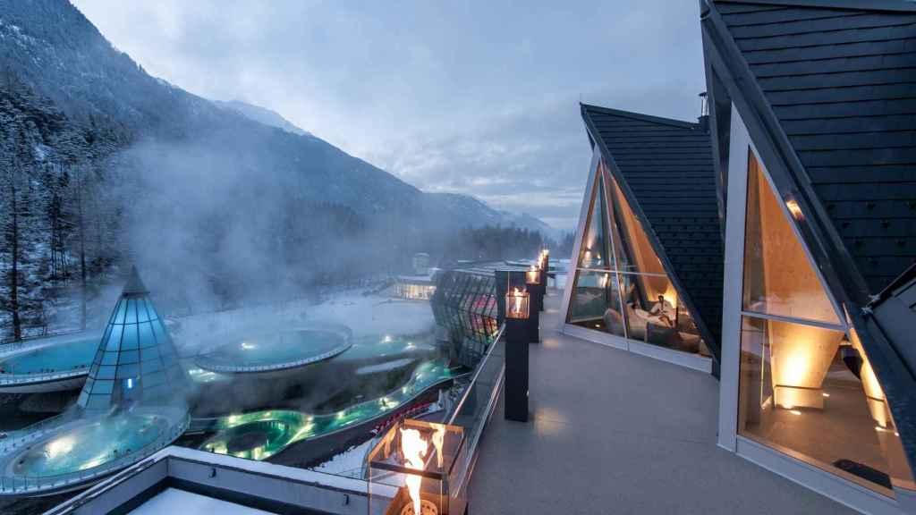 Vista exterior del Aqua Dome Spa, en Austria.
