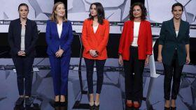 Las cinco candidatas, en el debate de La Sexta este jueves por la noche.