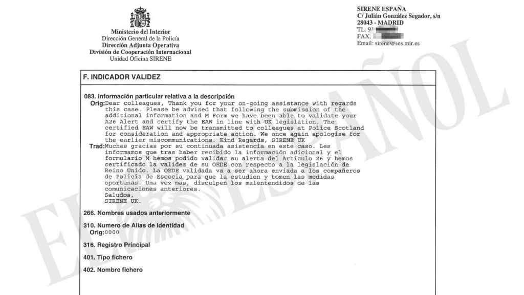 Último documento de las autoridades británicas sobre la euroorden contra Ponsatí