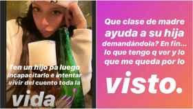 Una de las stories de Valeria en Instagram haciendo alusión a los hechos.