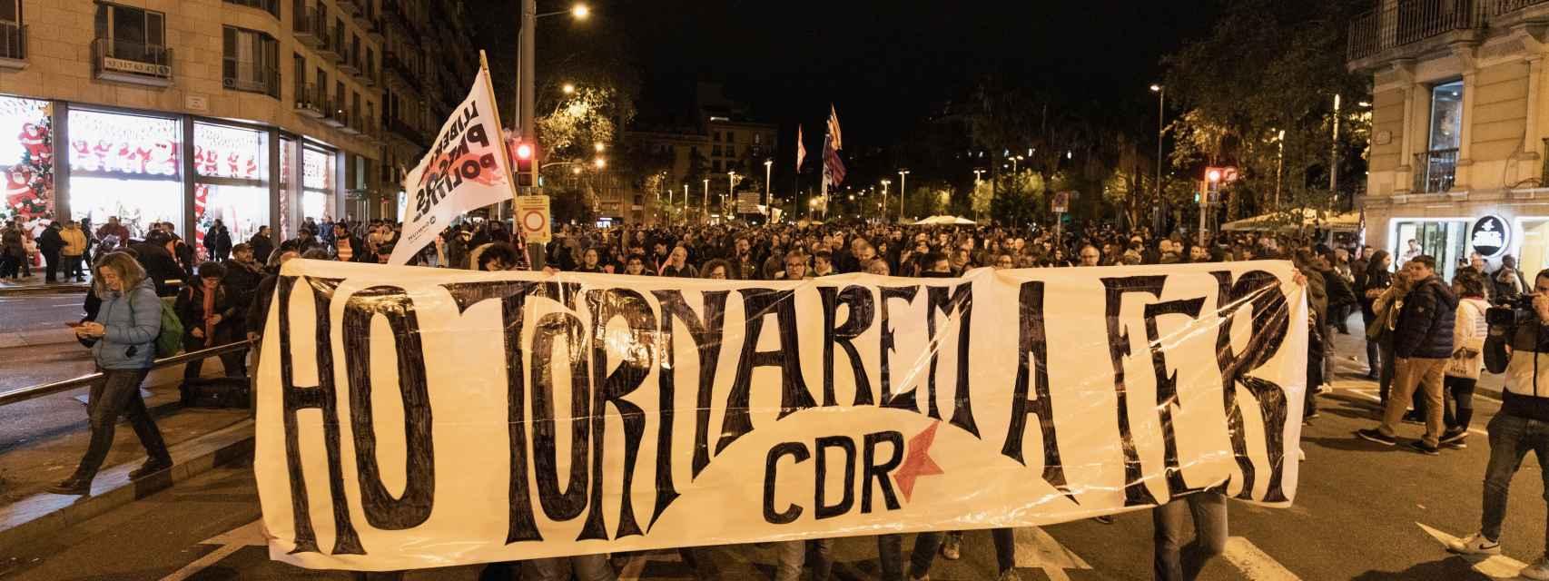 La cabecera de la marcha en Barcelona.