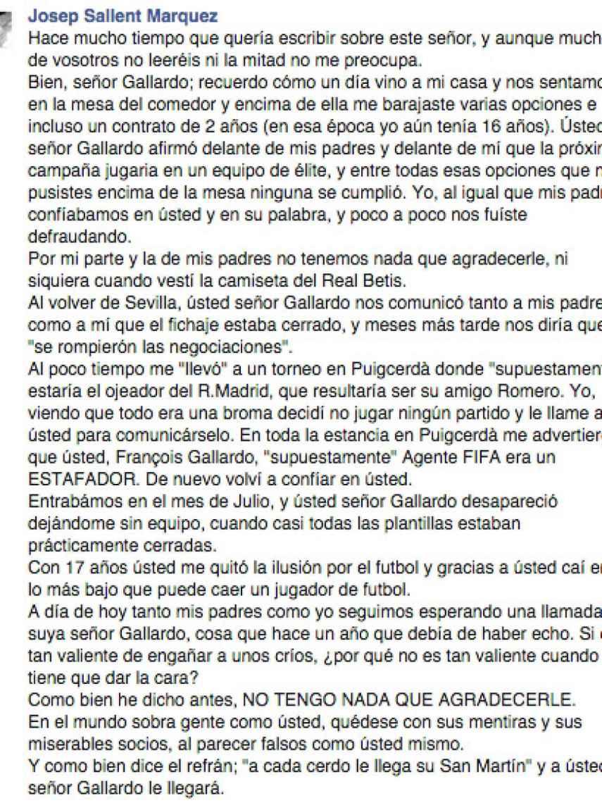 Josep Sallent escribió este mensaje contra Gallardo en sus redes