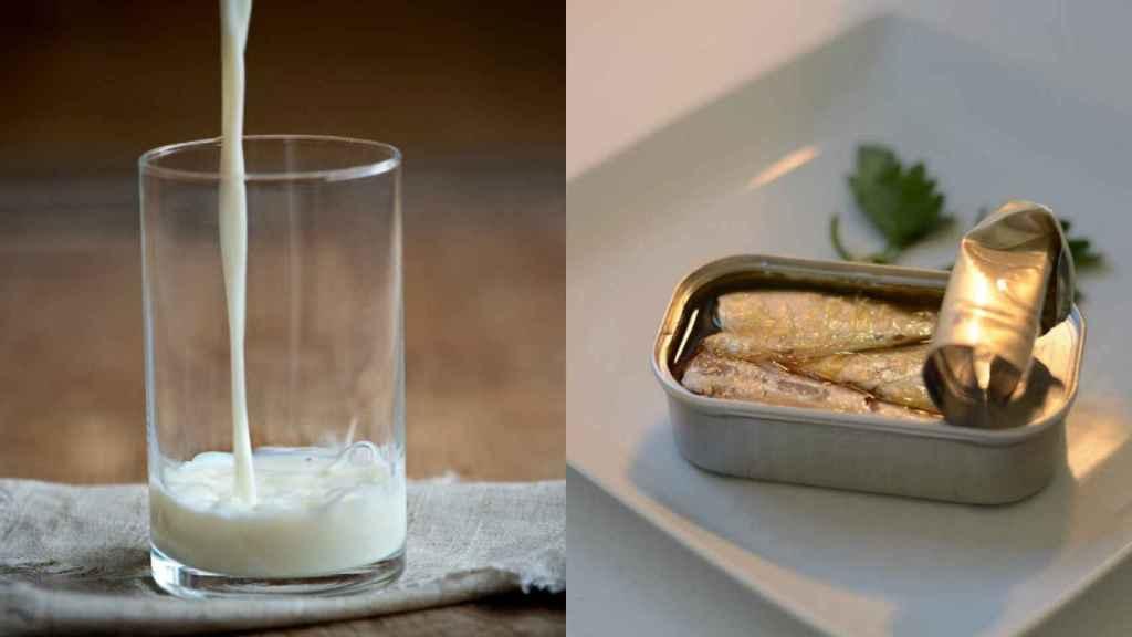 A la izquierda, un vaso de leche; a la derecha, una lata de sardinas abierta.