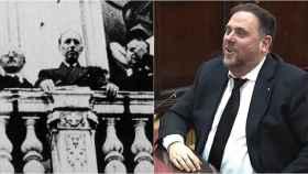 A la izquierda el ex president Lluis Companys. A la derecha, el líder de Esquerra encarcelado Oriol Junqueras.