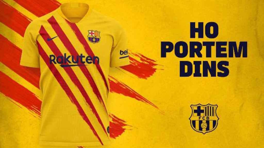 El Barcelona presenta la camiseta de la senyera