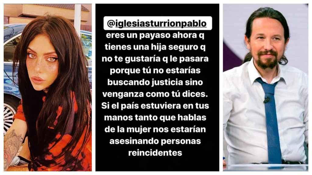 Valeria Quer, junto al mensaje que le ha enviado en redes sociales a Pablo Iglesias.