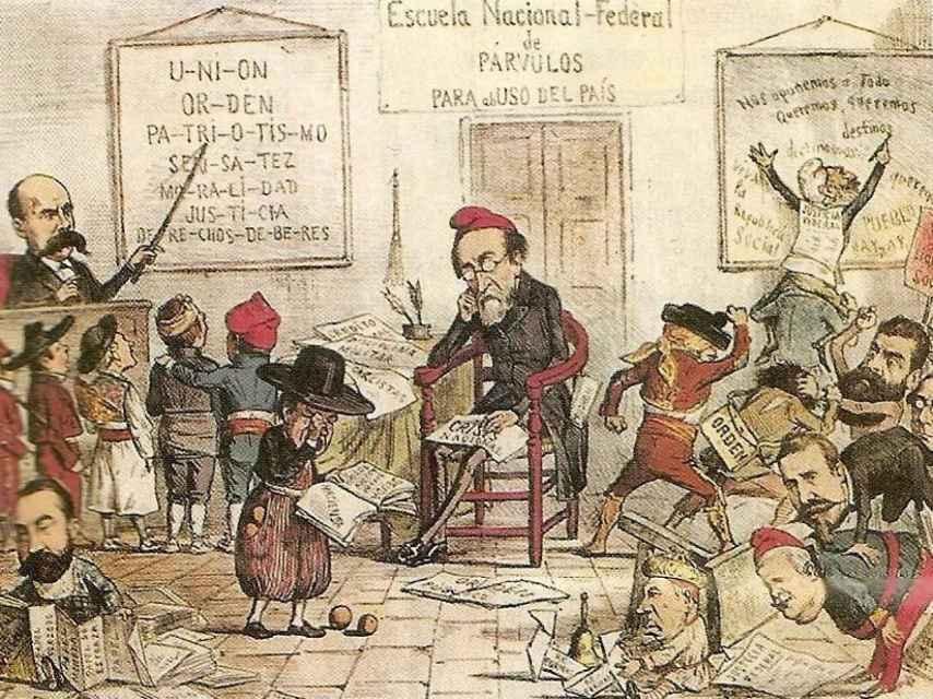 Caricatura de la revista satírica 'La Flaca' en la que aparece Pi y Margall desbordado por el federalismo.