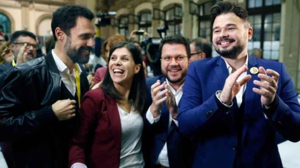 Aragonès y Rufián celebran los resultados de ERC el 10-N junto a Torrent