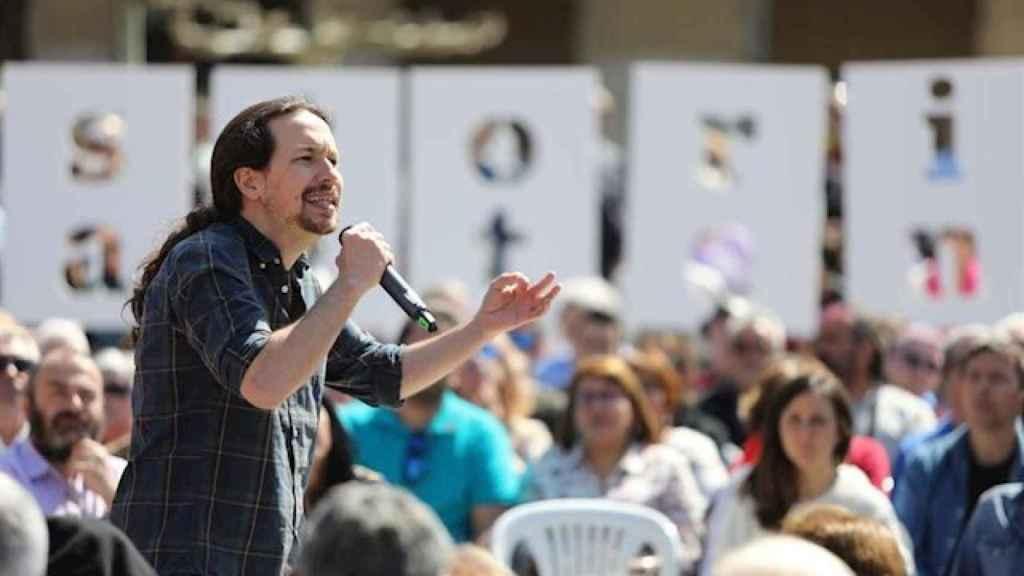 Pablo Iglesias, en un mitin de campaña.