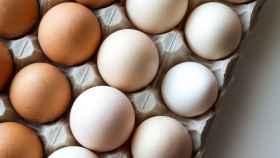 Unos huevos frescos metidos en un envase de cartón.