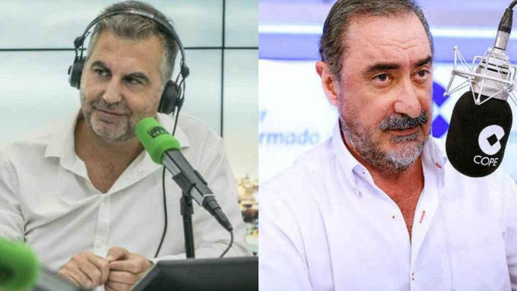 Carlos Alsina y Carlos Herrera frente a sus respectivos micrófonos.