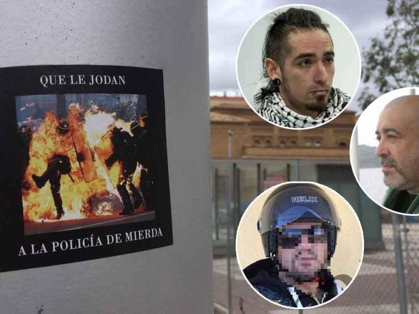 Cartel contra la Policía Nacional en Zaragoza. Sobre él, Rodrigo Lanza (arriba), su víctima mortal (c) y un motero agredido.