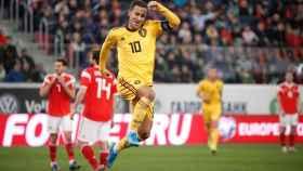 Eden Hazard celebra un gol con la selección de Bélgica