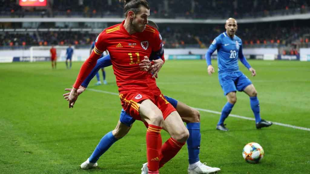 Gareth Bale, en el partido de la selección de Gales contra Azerbaiyán