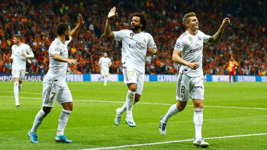 Kroos celebra un gol con el Real Madrid
