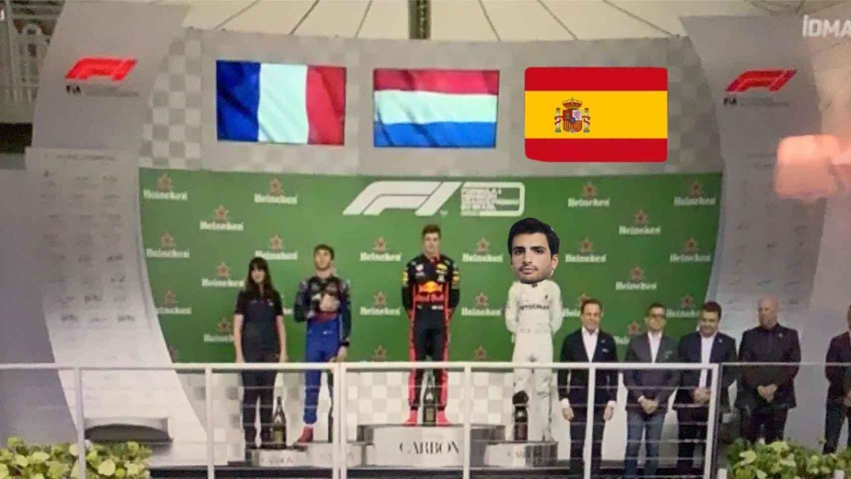 Los mejores memes del tenso y emocionante podio de Carlos Sainz