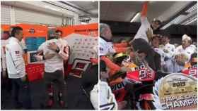 La emoción en el box en el adiós de Lorenzo: el abrazo entre campeones con Márquez