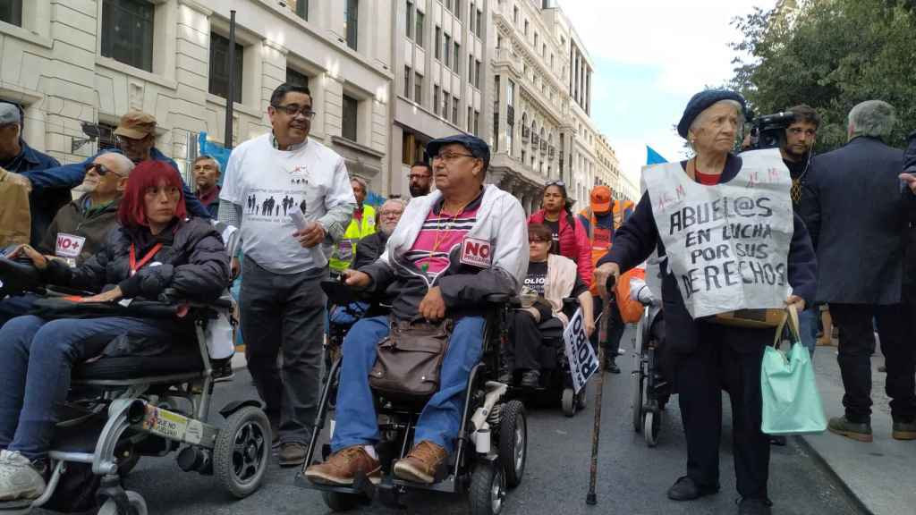 Marcha de jubilados en Madrid en defensa de las pensiones.