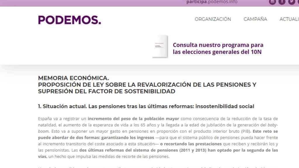 Memoria Económica Ley de Revalorización de Pensiones de Unidas Podemos.