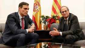 Pedro Sánchez y Quim Torra, en su reunión mantenida en el Palacio de Pedralbes, en Barcelona, en 2018.