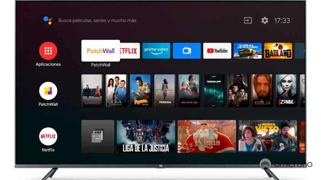 El televisor de Xiaomi con el menú abierto.