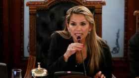 Jeanine Áñez, durante una comparecencia.