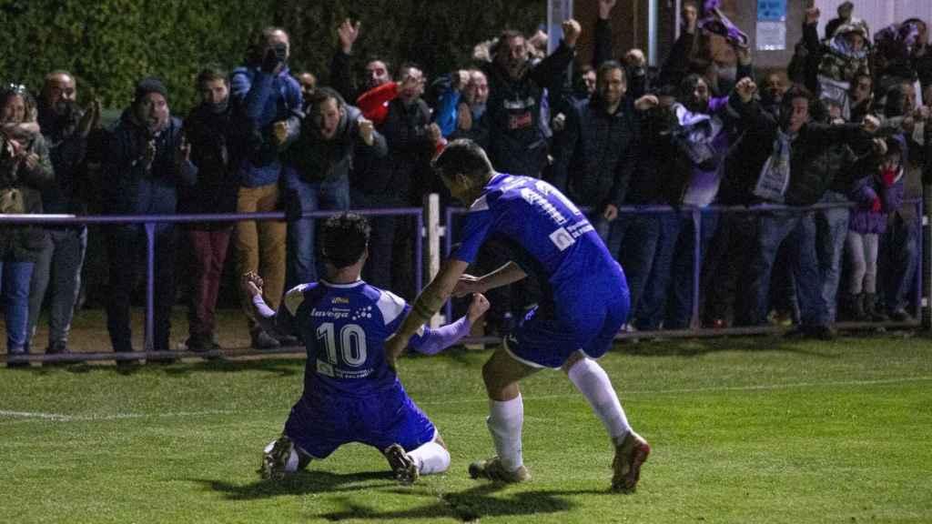 Alberto Melero tras marcar el gol del CD Becerril en la ronda previa de la Copa del Rey