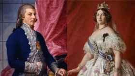 Retratos de Godoy e Isabel II.