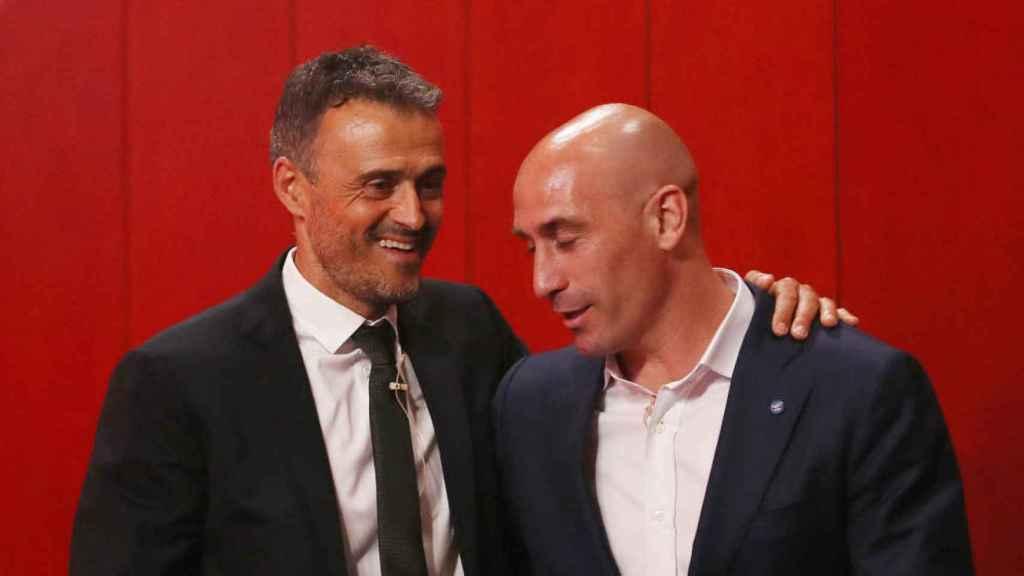 Luis Enrique, junto a Luis Rubiales