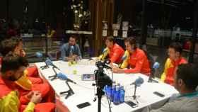 Nadal junto al equipo español de la Copa Davis en COPE
