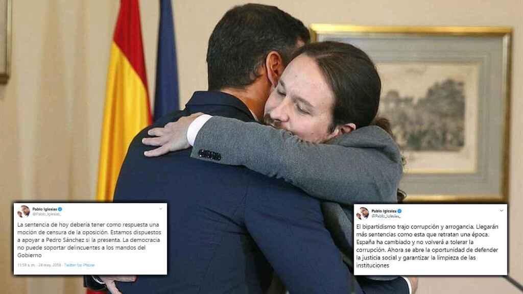 Pedro Sánchez abraza a Pablo Iglesias, entre sus dos tuits sobre las sentencias del 'caso Gürtel' y la de los ERE.