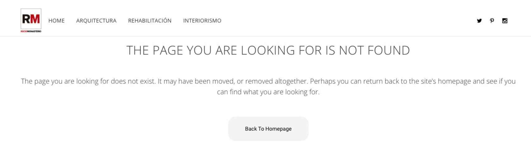 La web del estudio de Rocío Monasterio tras el borrado.