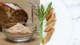 La proteína en polvo obtenida del aire y el aspecto final que tendría la carne. Air protein.