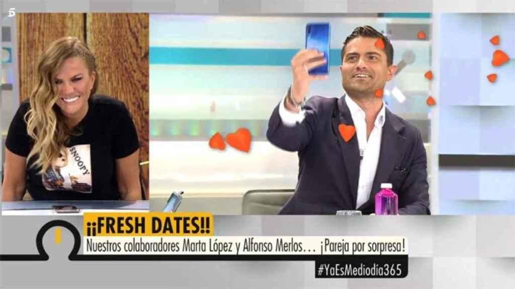 Marta López y Alfonso, en un montaje de Telecinco.