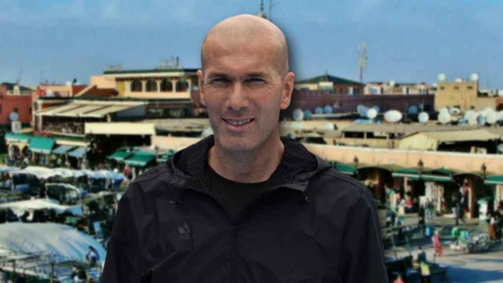 Zidane en un montaje de JALEOS con Marrakech de fondo.