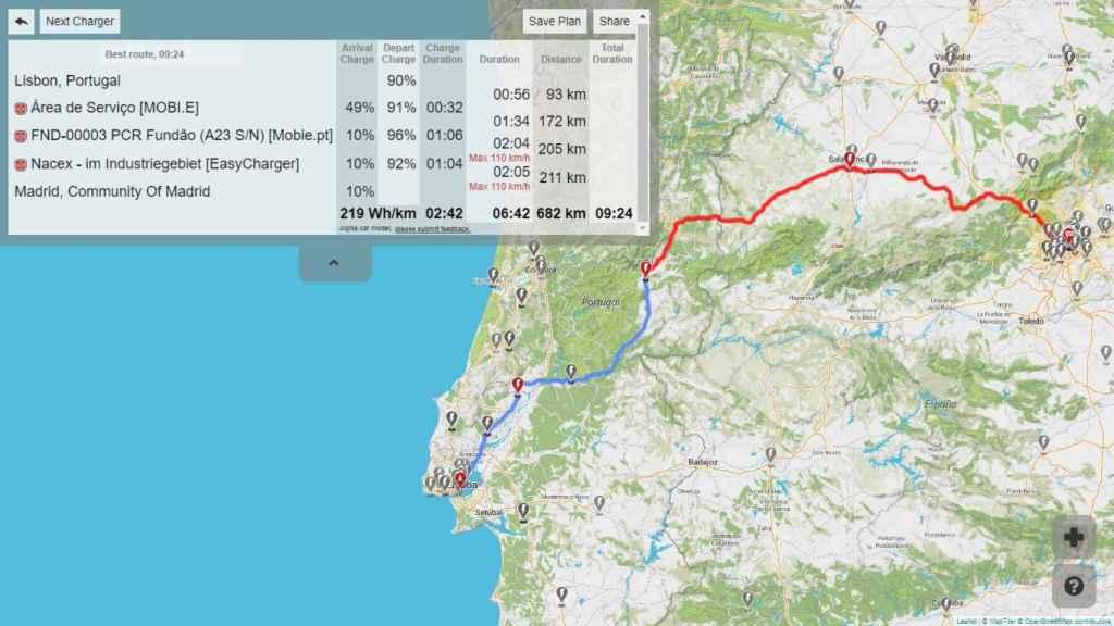La ruta con el Leaf e+ se iría a más de 9 horas y no pasaría por Extremadura.