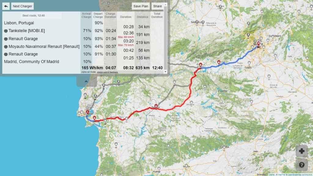 Con el Zoe se harían menos kilómetros, pero el viaje se alargaría hasta casi 13 horas.