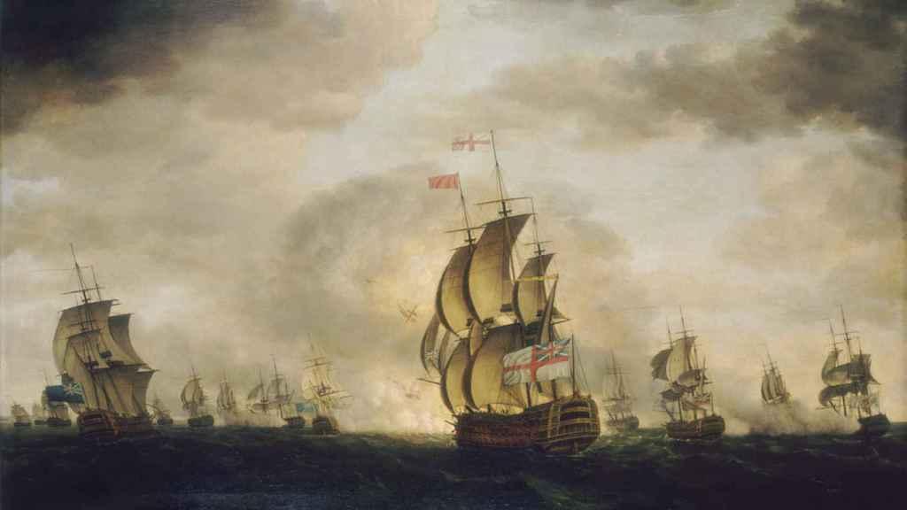 'Batalla del Cabo de San Vicente', un cuadro de Francis Holman.